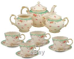 11 Piece China Tea Set Service Vintage Look Green Rose Porcelain Pot Saucers Cup
