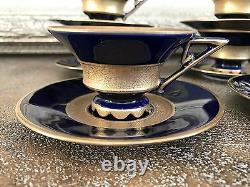 12pc JLMENAU Tea expresso Set Cobalt Blue Antique GERMANY CUP & SAUCER Porcelain