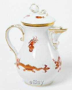 15-pc Meissen Red Dragon Demitasse Mocha Set Coffee Pot Cups Saucers Tea Service