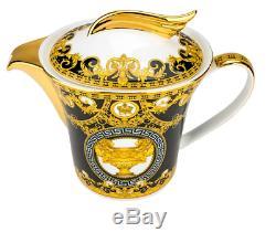 17 Pcs Bone China black & Gold Greek Key Versailles Design Tea Set