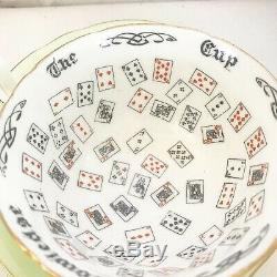 1800's Vintage Fortune Telling Tea Cup Saucer Antique Aynsley Cup of Knowledge