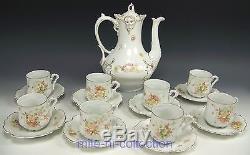 18 Pieces Hermann Ohme Silesia Flower Butterflies Tea Coffee Cups & Saucers Set
