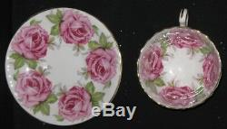 1930's Aynsley Large Pink Cabbage Rose China Cup and Saucer Set