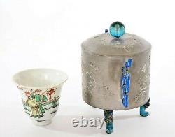 1930's Chinese Pewter Enamel Wine Warmer Pot Jar Famille Rose Porcelain Tea Cup