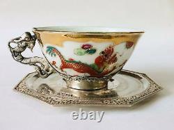 1950's Pair Tea Cup Saucer Vintage Sterling Silver 875 Porcelain Etched Vietnam