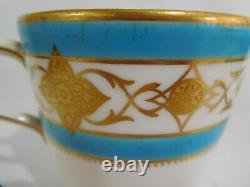 19th Century Antique Minton Celeste Blue Enamelled Tea Cup And Saucer