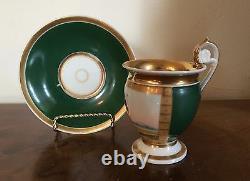 19th c. Antique French Empire Old Paris Porcelain Tea Cup & Saucer Gilt Green