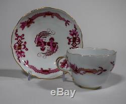 1 Meissen Rich Court Pink Dragon Pink Tea Cup & Saucer with Gilding