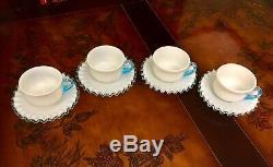 20 Piece Fenton Aqua Crest Milk Glass Tea Cups, Saucers, Plates, & Compote