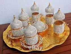 24 Pc Turkish Arabic Coffee Water Tea Cup Saucer Tray Made with Swarovski GOLD