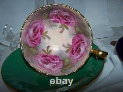 #2 AMAZING! AYNSLEY England 4 CABBAGE ROSE SIGNED BAILEY Cup Saucer Set