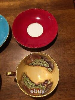 (2) Aynsley China Tea Cup & Saucer Turquoise & Maroon Fruit Orchard D Jones EC