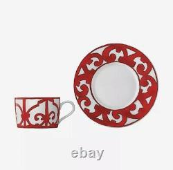 2 HERMES Balcon du Guadalquivir Red Large Breakfast CUPS Tea Coffee Cup & Saucer