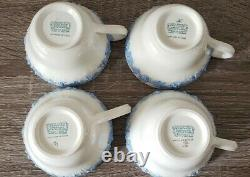 4 WEDGWOOD QUEENSWARE SHELL EDGE Embossed Lavender on Cream Tea Cups & Saucers