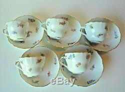 5 Antique Meissen Demitasse Cup & Saucer- Scattered Flowers Germany