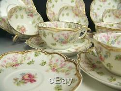 6 Limoges Haviland Schleiger 72 Rose Flowers Swags Double Gold Cups 8 Saucers