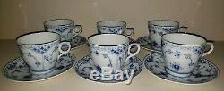 (6) Royal Copenhagen Blue Fluted Half Lace Tea Cups & Saucers #756 -Mint