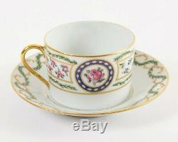 8-pc Set HAVILAND Limoges of France'Louveciennes' 4 Flat Tea Cups & 4 Saucers
