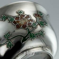ANTIQUE 19thC CHINESE EXPORT SOLID SILVER & ENAMEL TEA CUPS c. 1880