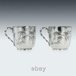 ANTIQUE 19thC CHINESE EXPORT SOLID SILVER TEA CUPS, YANG QING HE c. 1880