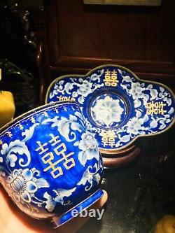 ANTIQUE Chinese Blue White CANTON Floral Enamel Brass Tea Cup & Saucer BEAUTIFUL