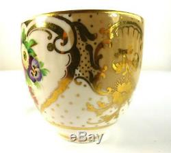 ANTIQUE ENGLISH PORCELAIN TEA COFFEE CUP SAUCER PLATE SET FLOWERS Pat. 2990 c