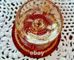ANTIQUE SALVIATI MOSER ENAMELED CRANBERRY RUBY RED VENETIAN TEA CUP c. 1925