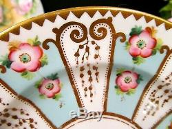 ANTIQUE early English tea cup and saucer trio 1850's Mintons teacup pink roses