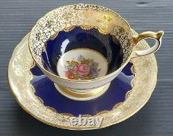 AYNSLEY Antique Teacup & Saucer Hand Painted & Signed JA BAILEY Cobalt Blue