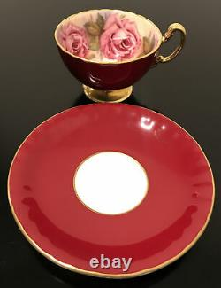 AYNSLEY England BURGUNDY RED TEA CUP & SAUCER with LARGE PINK CABBAGE ROSES