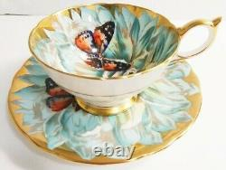 AYNSLEY Vintage Bone China Chrysanthemum Butterfly Gold Teacup & Saucer Set HTF