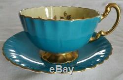 AYNSLEY signed J. A. BAILEY CABBAGE ROSE TEAL BLUE Teacup & Saucer