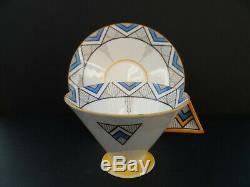 A stunning Shelley Art Deco Chevrons 11775 Vogue shape tea cup & saucer. C1930