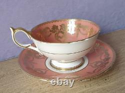 Antique 1930's Aynsley Artist Signed Pink Rose tea cup, Orange bone china teacup