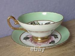 Antique 1930's England large pink rose green bone china tea cup teacup & saucer