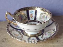 Antique 1950's Paragon England bone china blue & gold pink rose tea cup teacup