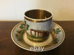 Antique 19th c. Empire Old Paris Porcelain Tea Cup & Saucer French Coffee Can 2