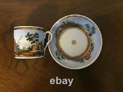 Antique 19th c. Empire Old Paris Porcelain Tea Cup & Saucer French Coffee Can 3