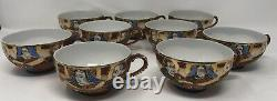 Antique 24 Pc Japanese Satsuma Dragonware Tea Set with Lithograph Geisha Cups