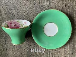Antique Aynsley Pink Cabbage Rose Pink On Jade Green Cup & Saucer