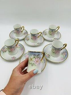 Antique BAVARIA TURIN CHOCOLATE/COFFEE/TEA SET, POT & 6 Cups ROSES & GOLD