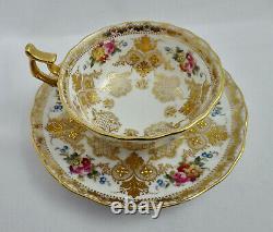Antique Cauldon Tea Cup & Saucer, Ornate Gilding