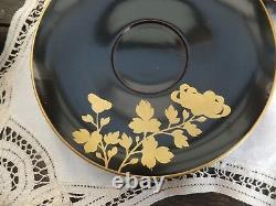 Antique Chinese Black Lacquer Tea Set Papier Mache 6 cups 6 Saucers Gold Lined
