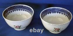 Antique Chinese Export Porcelain Armorial Pair of Tea Bowls Cup Monogram