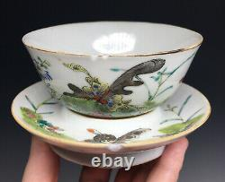 Antique Chinese Famille Rose Teacup with Base Plate Porcelain Guangxu Tongzhi Mark