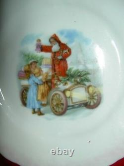 Antique Christmas, Santa Hot Air Balloon, German pink luster china child tea set