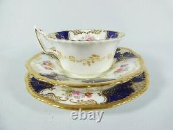 Antique Coalport Cobalt Blue Batwing Teacup Trio Cup Saucer Side Plate Set 2665