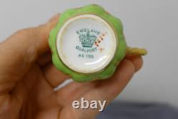 Antique Coalport Demitasse Cup Saucer Green Gilded Gold