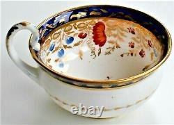 Antique Coalport Georgian Teacup and Saucer Floral Marked Number by Hand c. 1815