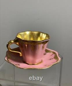 Antique Coalport Gold&Pink Demitasse Tea Cup & Saucer